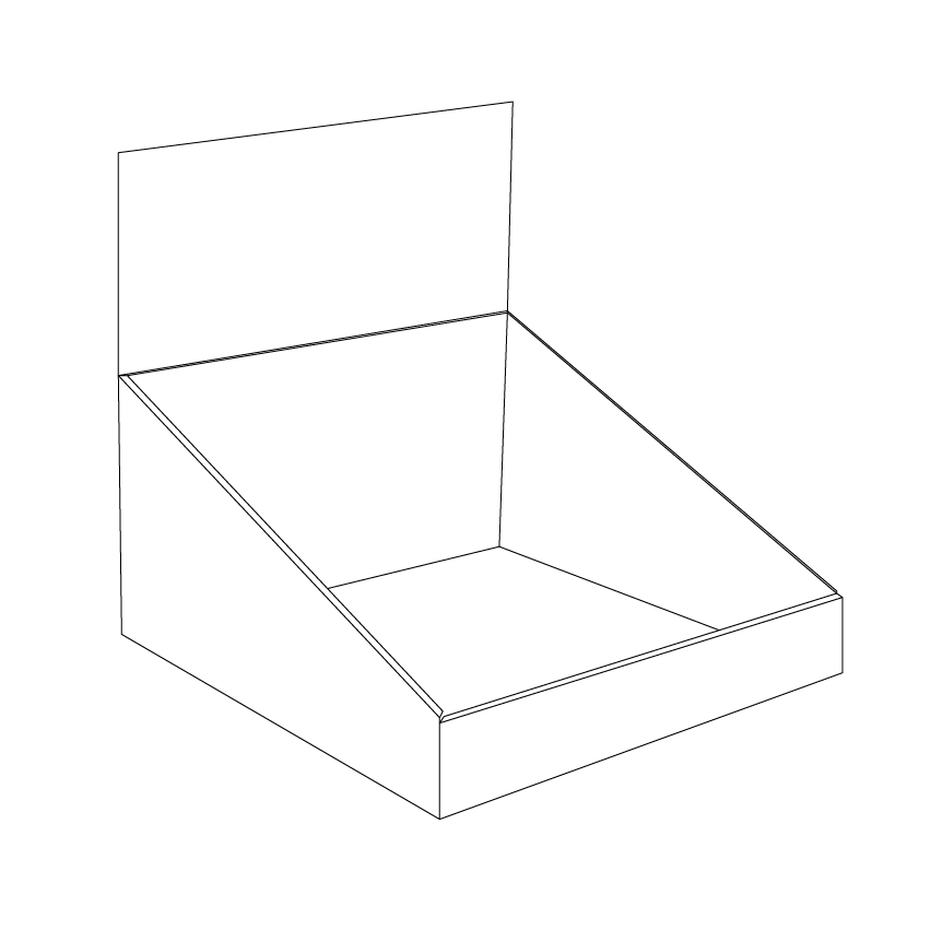 Square Cardboard counter display with header - Outline