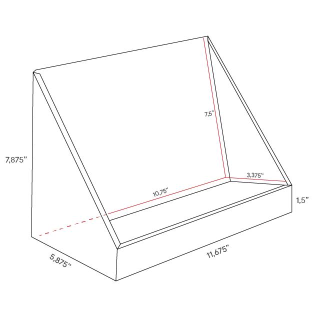 Présentoir de comptoir en carton en angle avec produits surélevés - dimensions