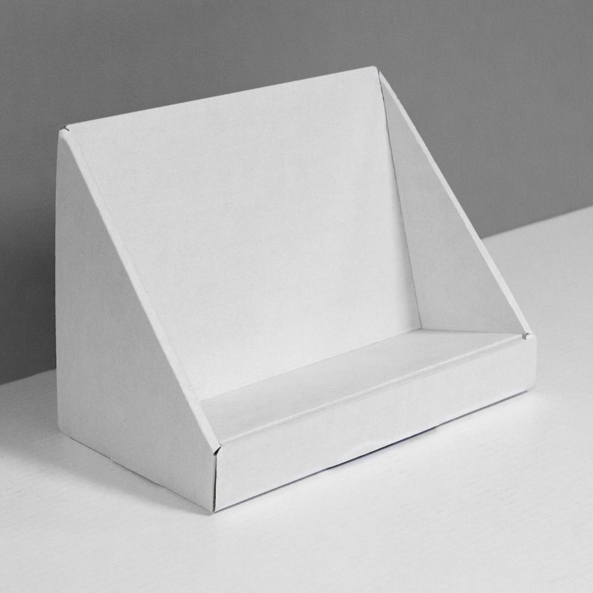 Présentoir de comptoir en carton en angle avec produits surélevés - blanc