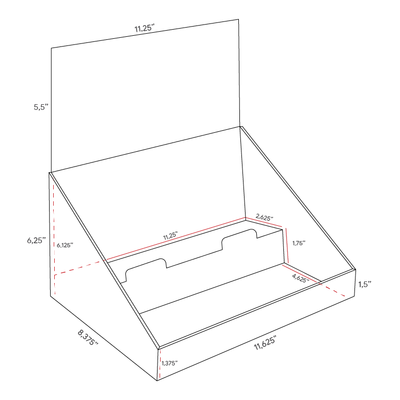 Cardboard counter display with 2 levels/shelves with header - dimensions