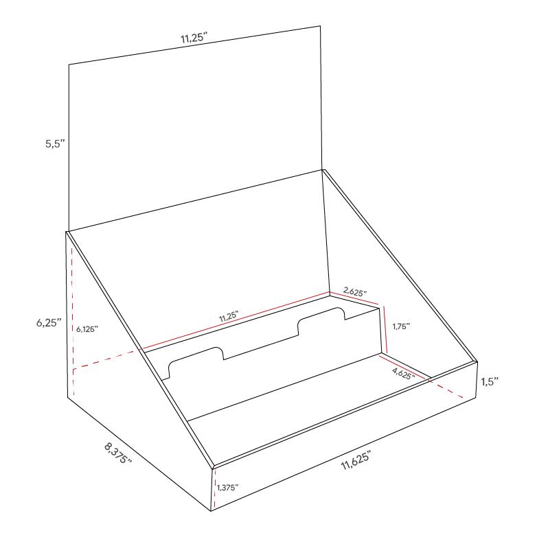 Présentoir de comptoir en carton avec en-tête et 2 tablettes, en angle - dimensions