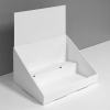 Cardboard counter display with 2 levels/shelves with header - white
