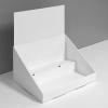 Présentoir de comptoir en carton avec en-tête et 2 tablettes, en angle - white