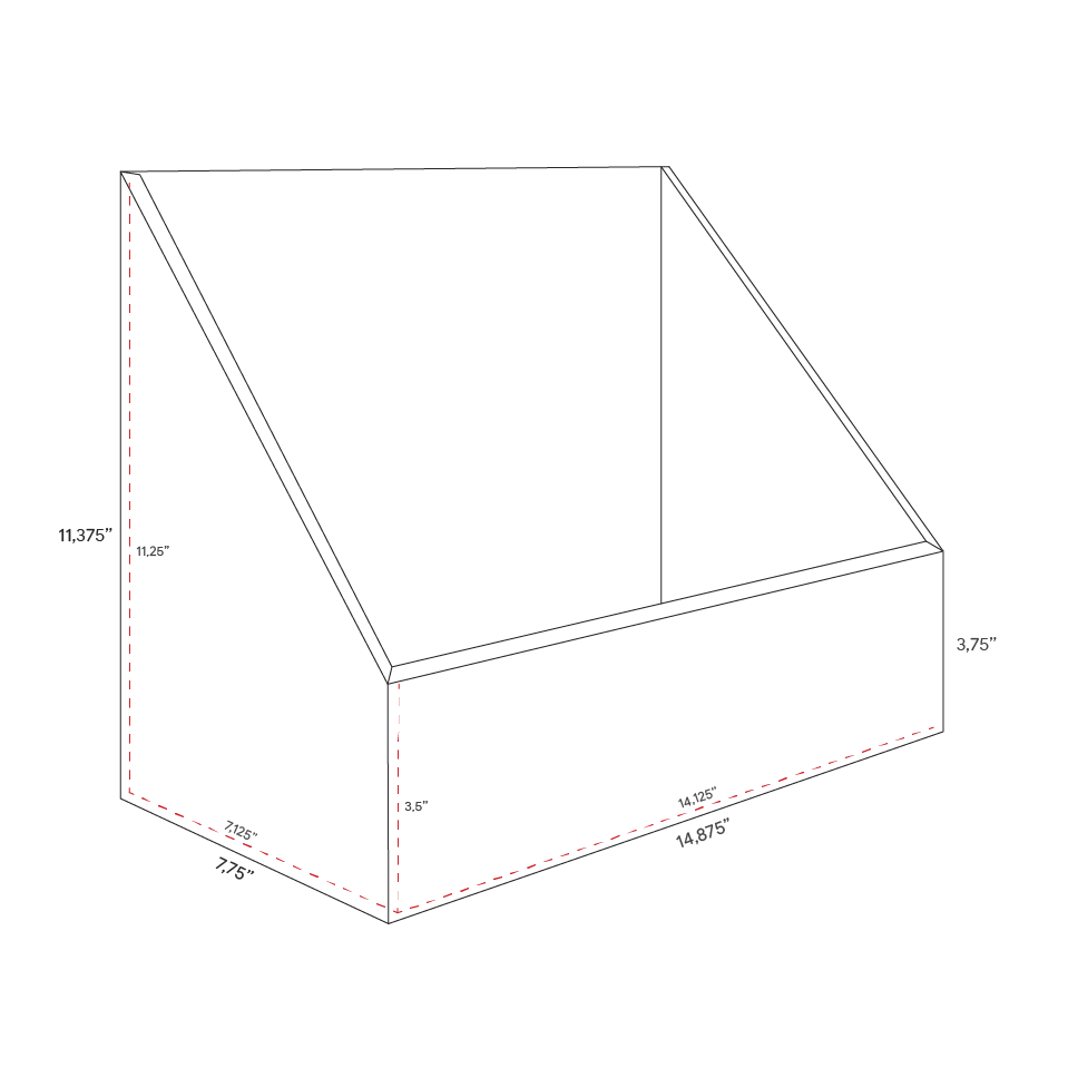 Cardboard counter display with high front - dimensions