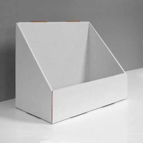 Cardboard countertop display for bottles and more, angular shape - white