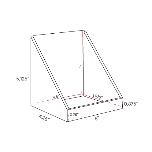 Small square Cardboard counter display with low front - dimensions