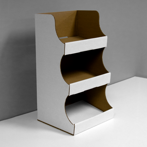 Cardboard counter display with 3 shelves - white