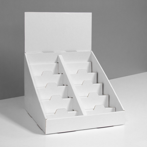 Cardboard counter display with 5 shelves/steps with a separator in the middle and a header - white