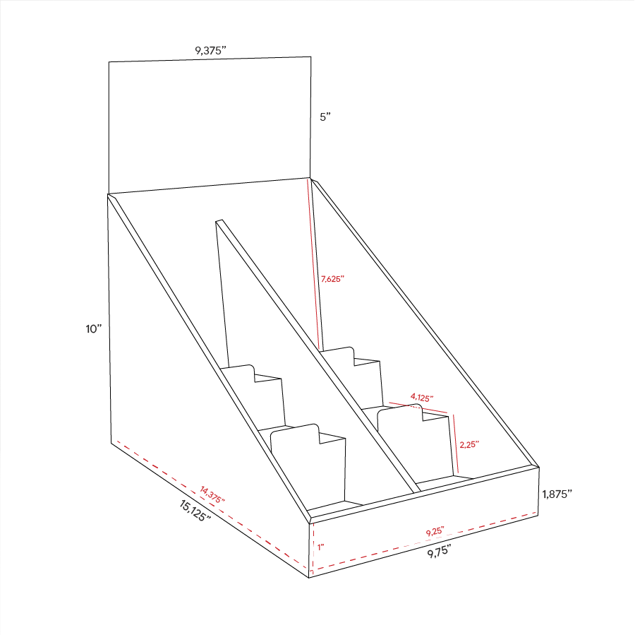 Cardboard counter display with 3 shelves/steps with a separator in the middle and a header - dimensions