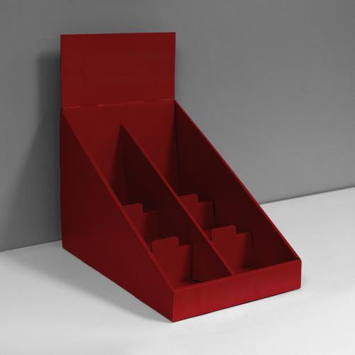 Présentoir de comptoir en carton ondulé avec 3 étages, un séparateur et une en-tête - rouge