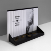 Printed Cardboard counter display with header and 6 cuts to insert products (4 rectangles and 2 circles) - front view