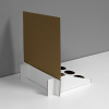 Cardboard counter display with custom inserts for small bottles and header - back view, white