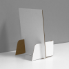 Small Cardboard counter display for business cards with a header - back view, white