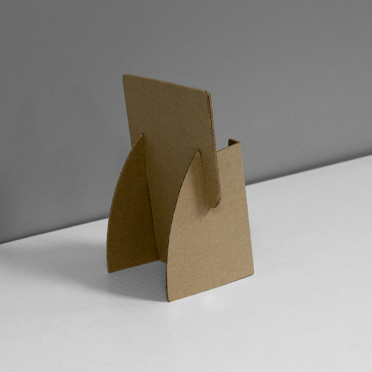 Small Cardboard counter display for business cards or small pamphlets - rear view, kraft