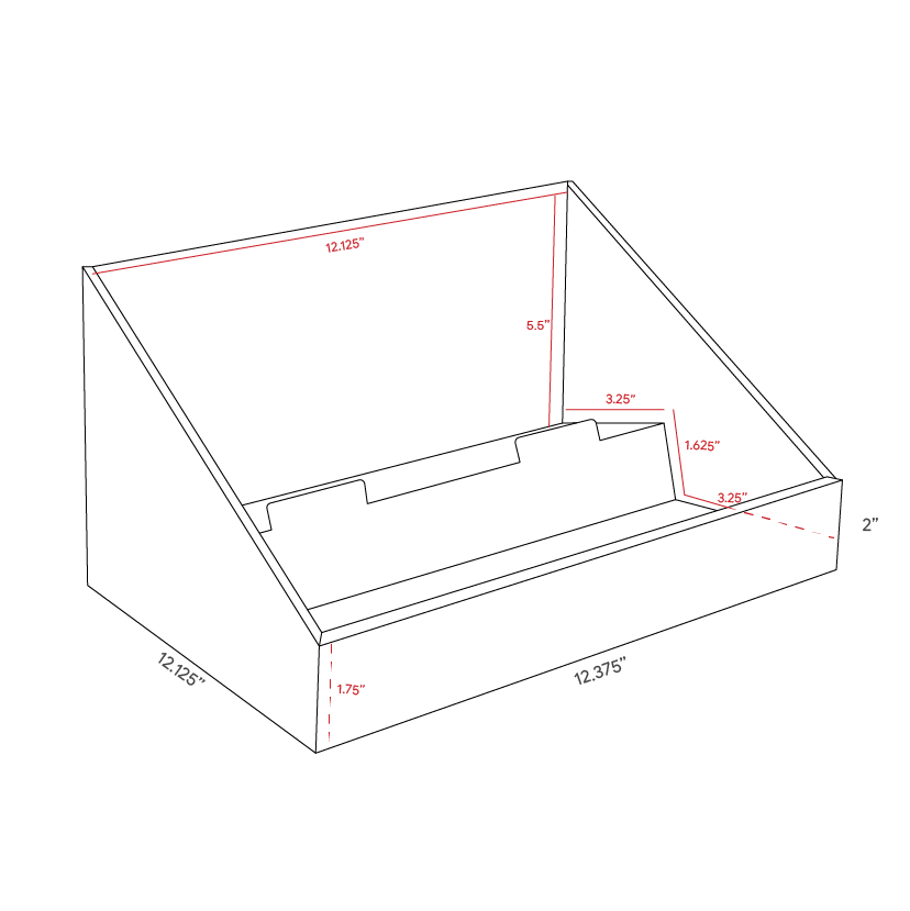 Cardboard counter displays with levels - dimensions
