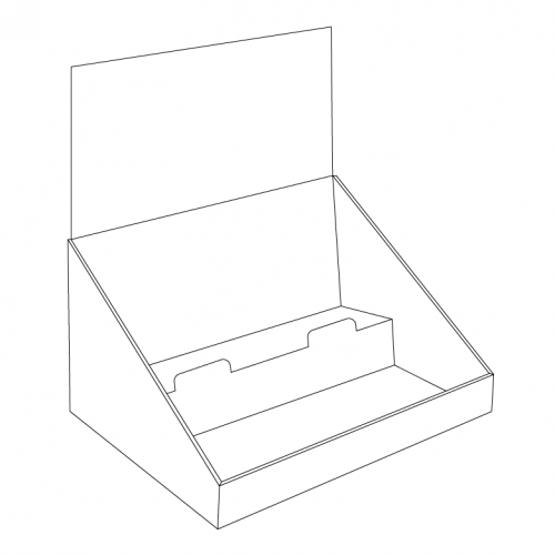 Cardboard counter display with 2 levels/shelves with header - OUTLINE