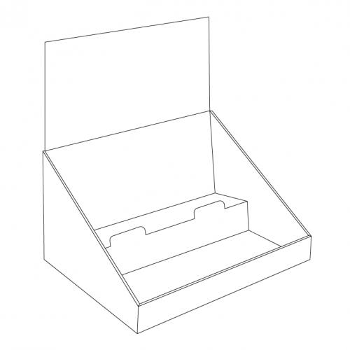 Présentoir de comptoir en carton avec en-tête et 2 tablettes, en angle - tracé sans en-tête
