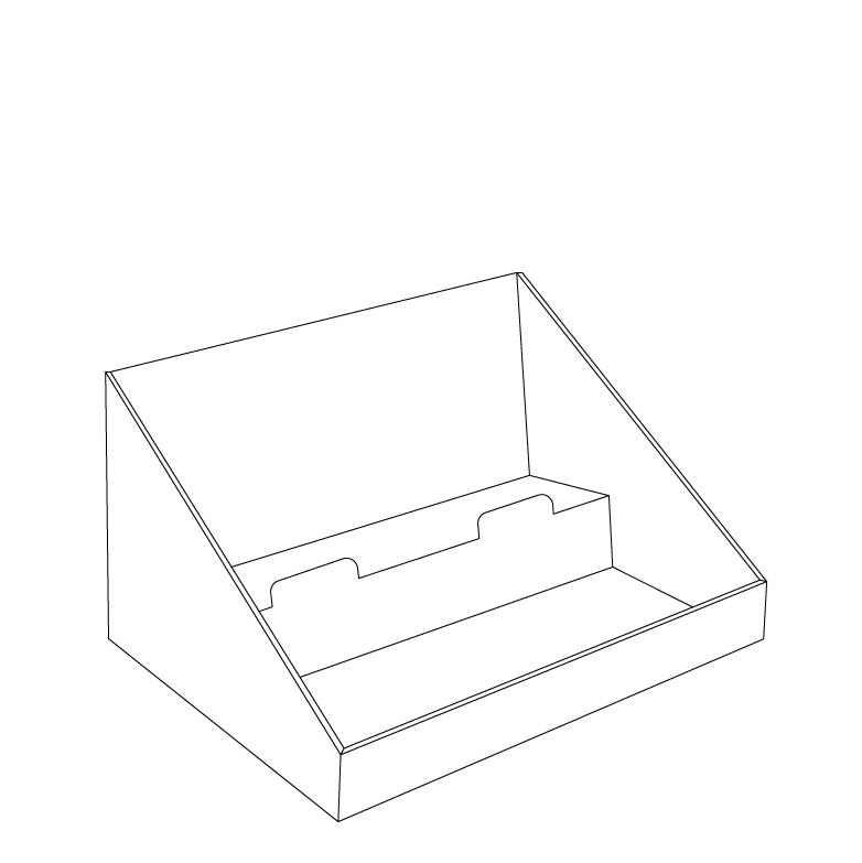 Présentoir de comptoir en carton avec en-tête et 2 tablettes, en angle - tracé avec en-tête
