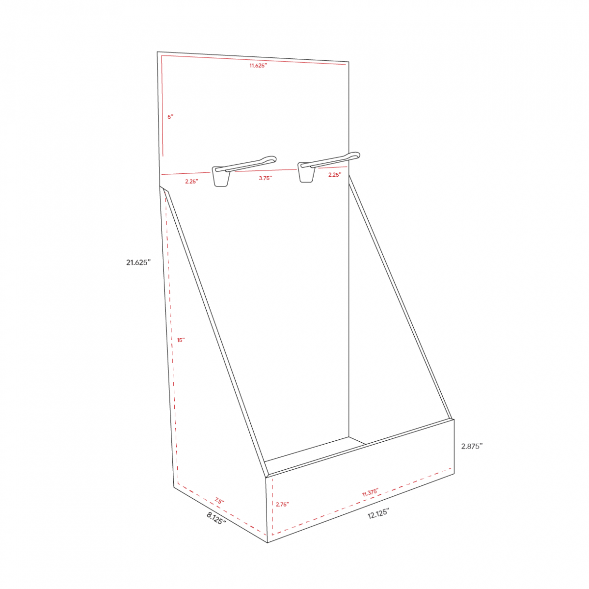 Cardboard counter displays with 2 pegs at the top - dimensions