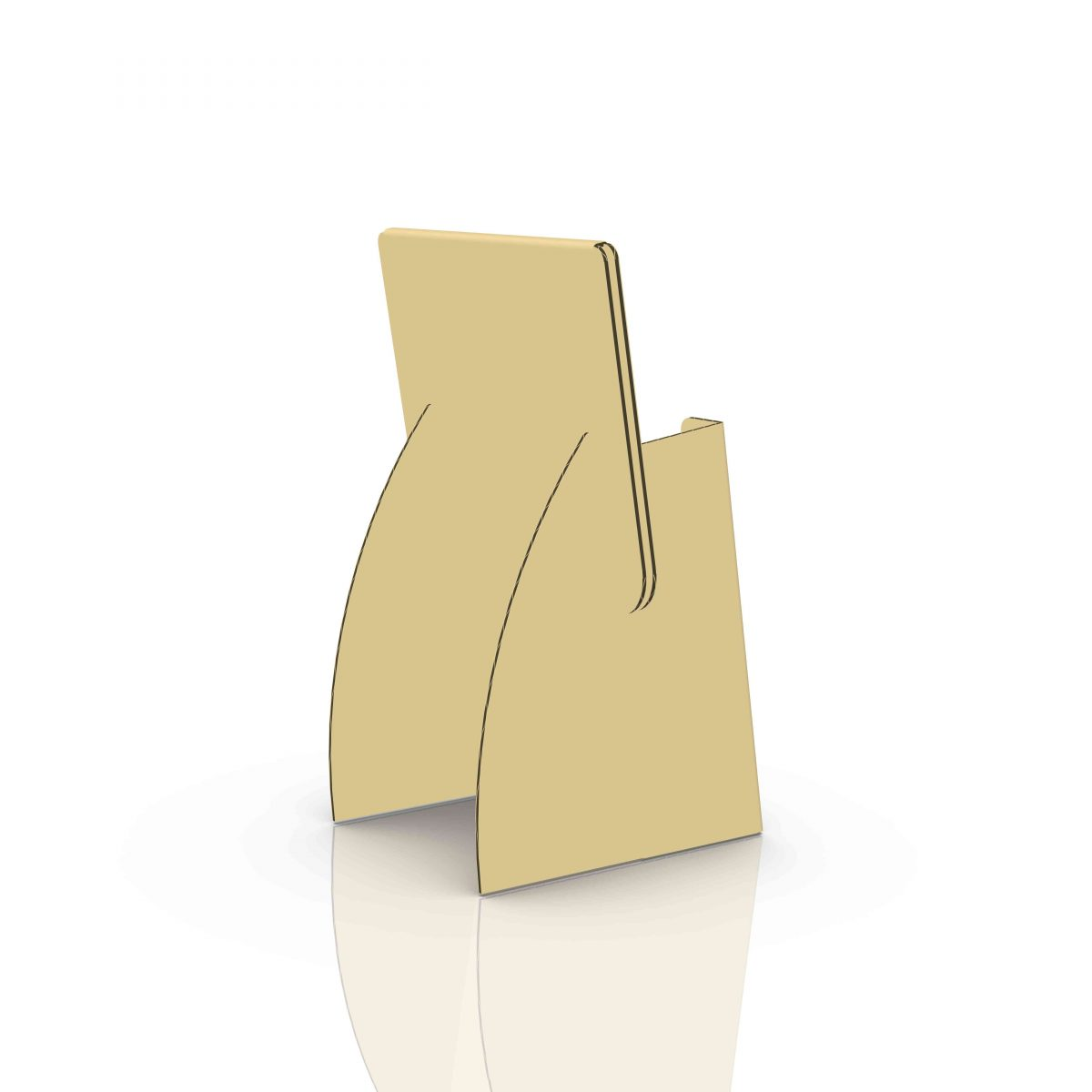 Small Cardboard counter display with header for cards or pamphlet, side/back view - 3d kraft