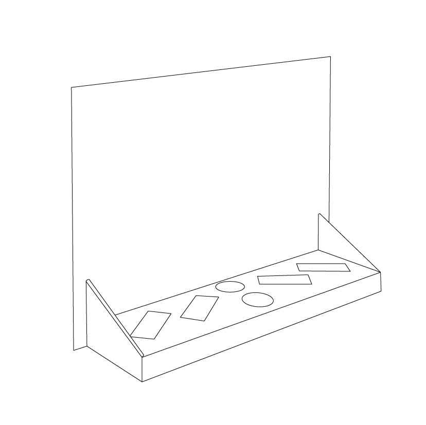 Cardboard counter display with header and 6 cuts to insert products (4 rectangles and 2 circles) - Outline