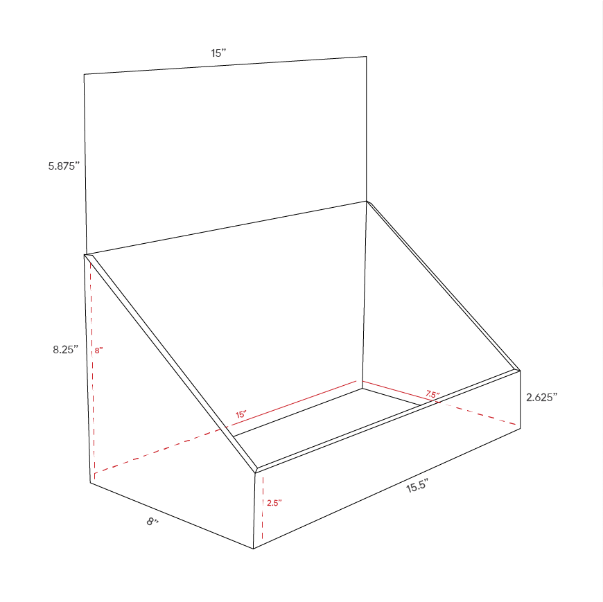 Cardboard counter displays with header - dimensions