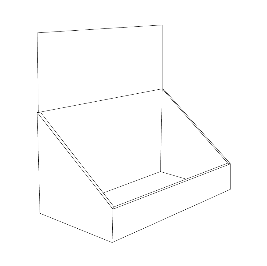 Cardboard counter display with header - Outline