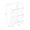 Cardboard counter display with 3 shelves - Dimensions