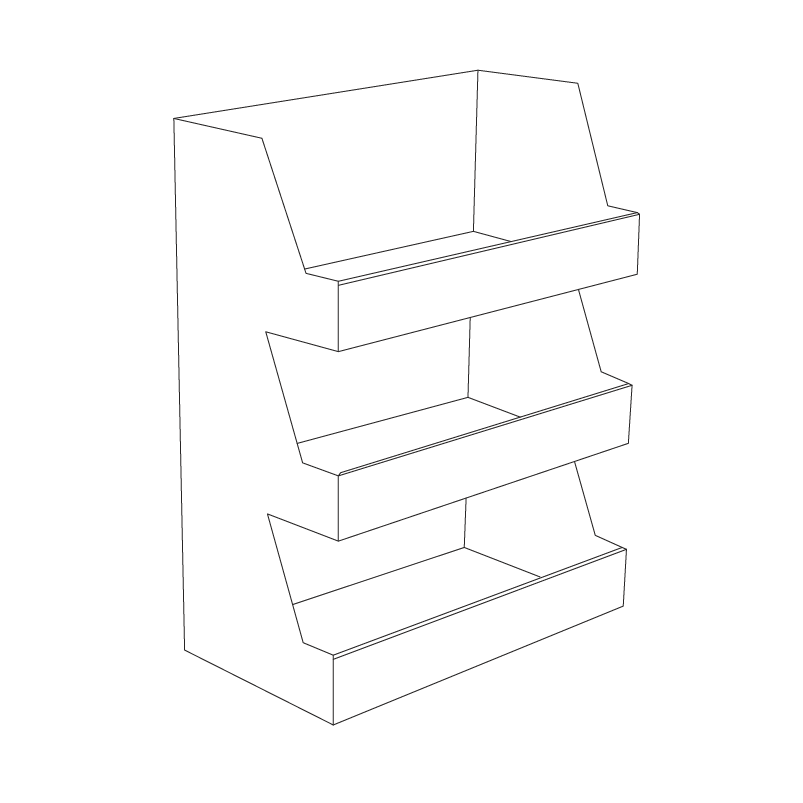 Cardboard counter display with 3 shelves - Outline