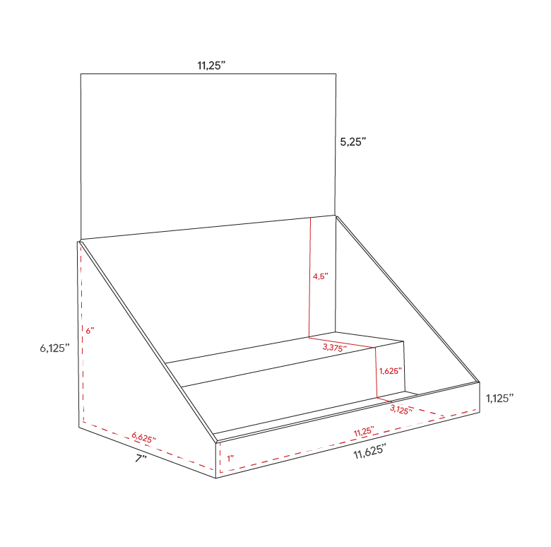 Cardboard counter displays with header and 2 levels - dimensions