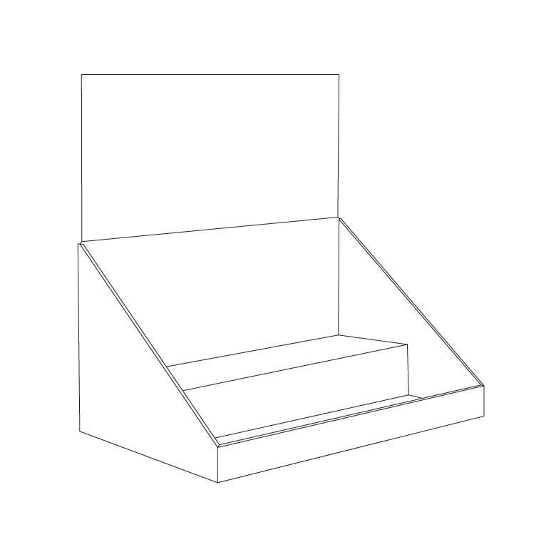 Cardboard counter display with 2 levels/shelves and a header - Outline