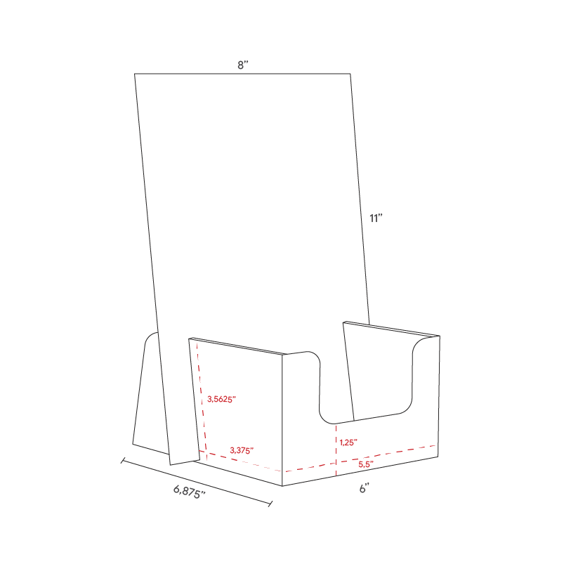 Cardboard counter displays for cards with header - dimensions
