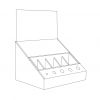 Cardboard counter display with inserts and slots for makeup products and a header - Outline