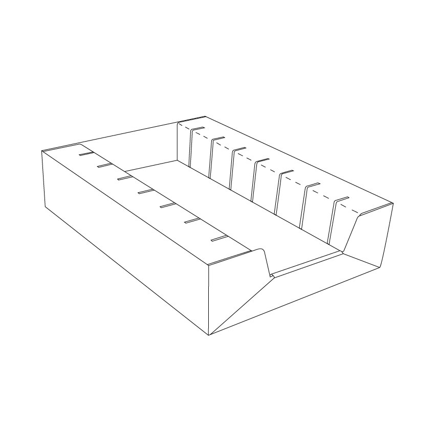 Cardboard Tray 83 for voucher cards with 7 slots - Outline - Corrugated