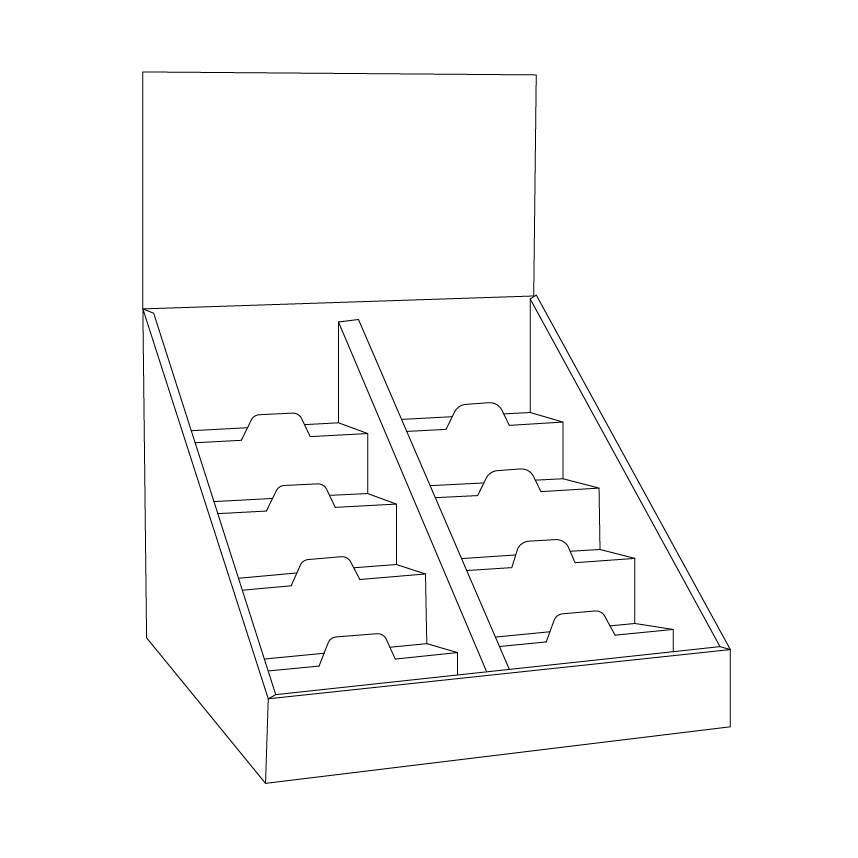 Cardboard counter display with 5 shelves/steps with a separator in the middle and a header - Outline