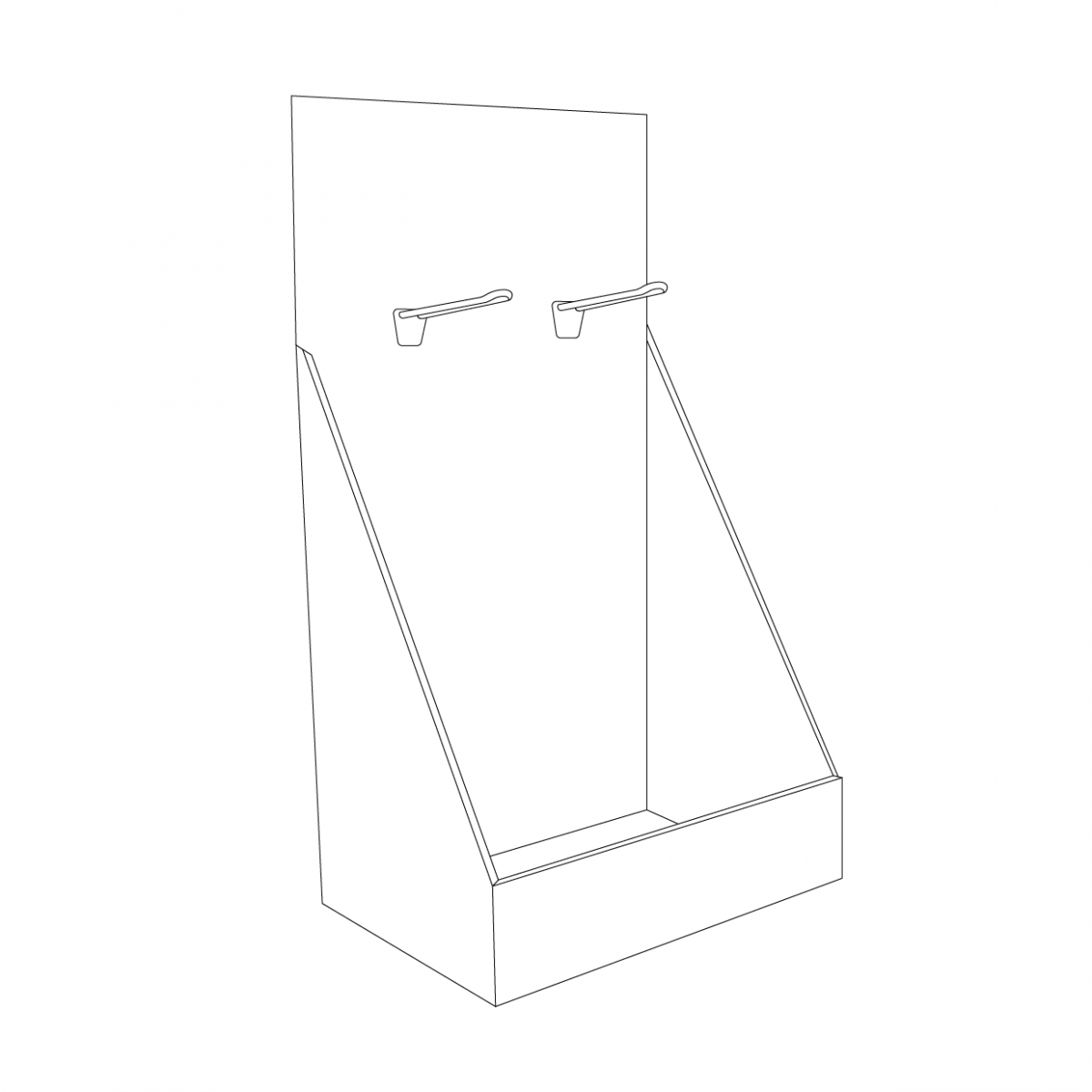 High Cardboard counter display with 2 pegs on the top/header - Outline
