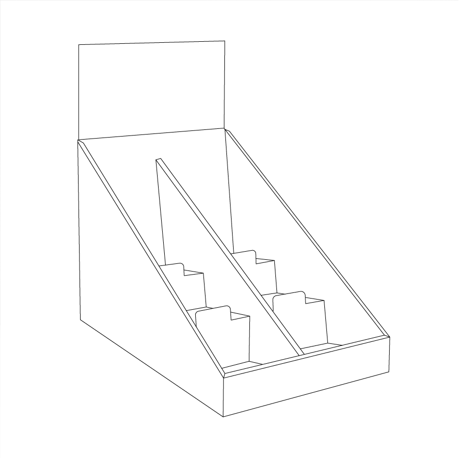 Cardboard counter display with 3 shelves/steps with a separator in the middle and a header - Outline