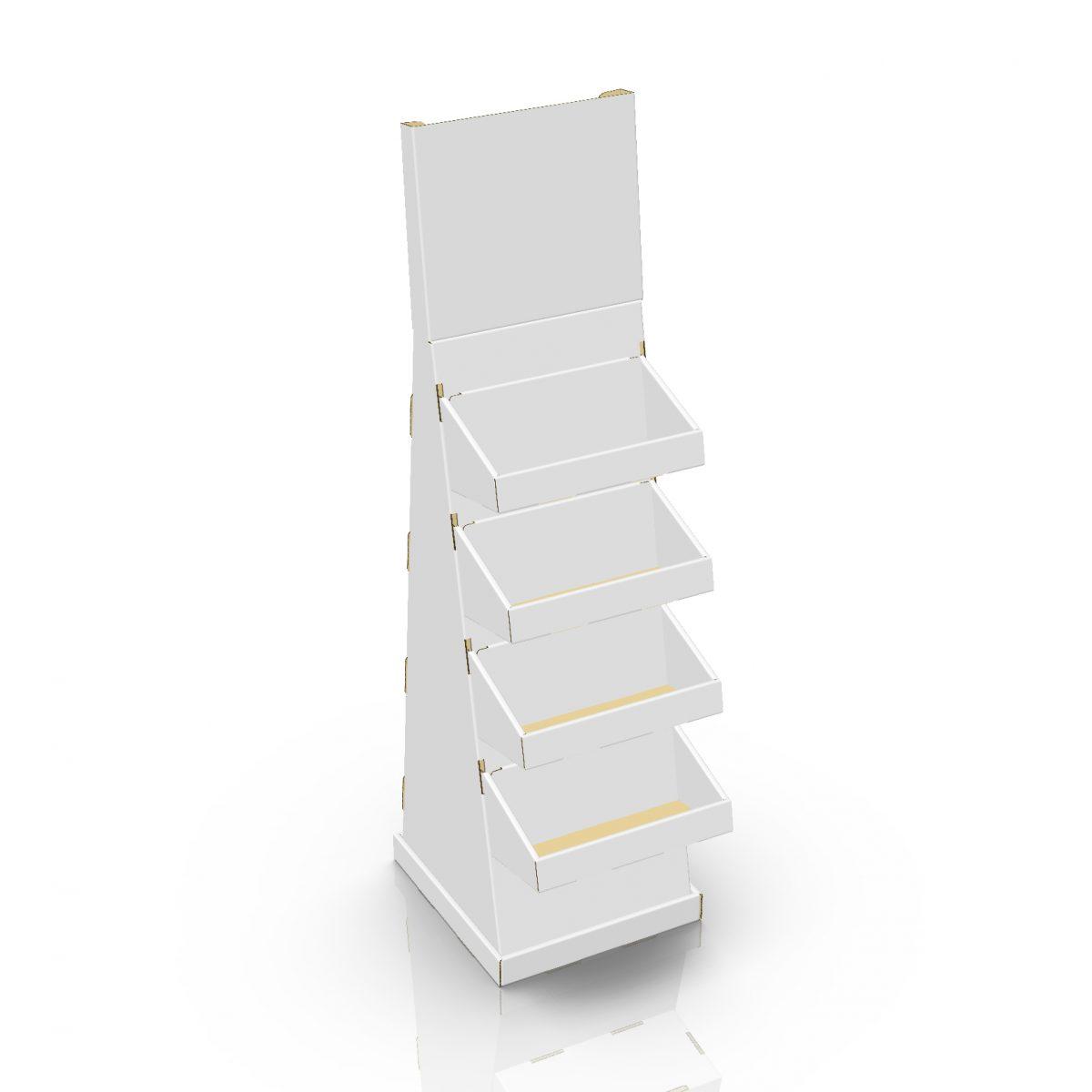Présentoir de plancher en carton avec en-tête et tablettes, avec butoir au plancher (version grande aussi disponible) - 3d