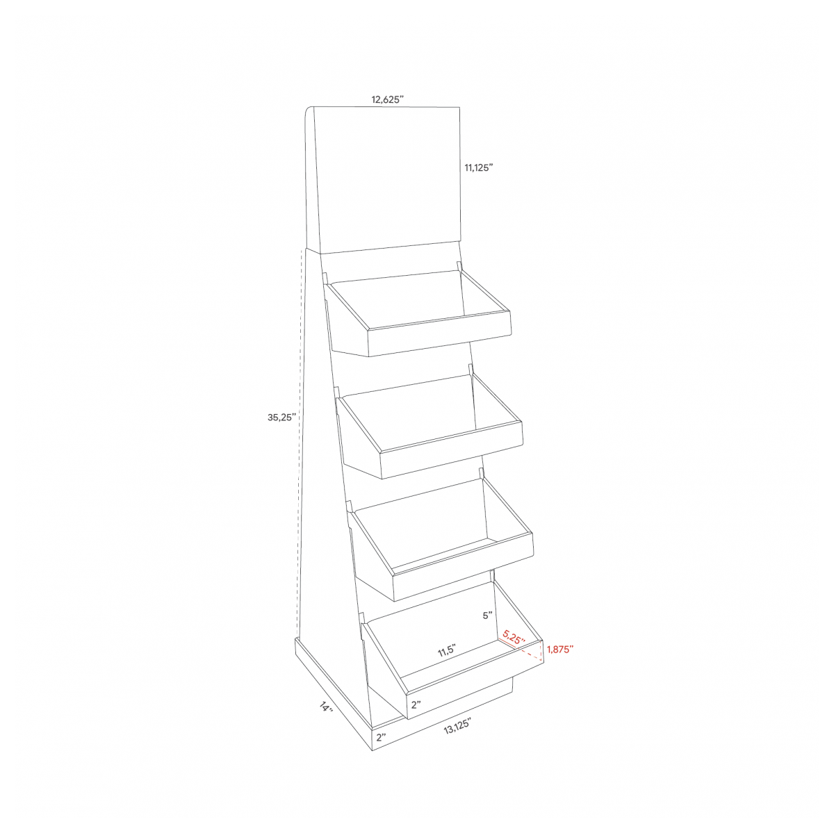 Cardboard floor display with header and 4 trays as shelves (small version) - dimensions