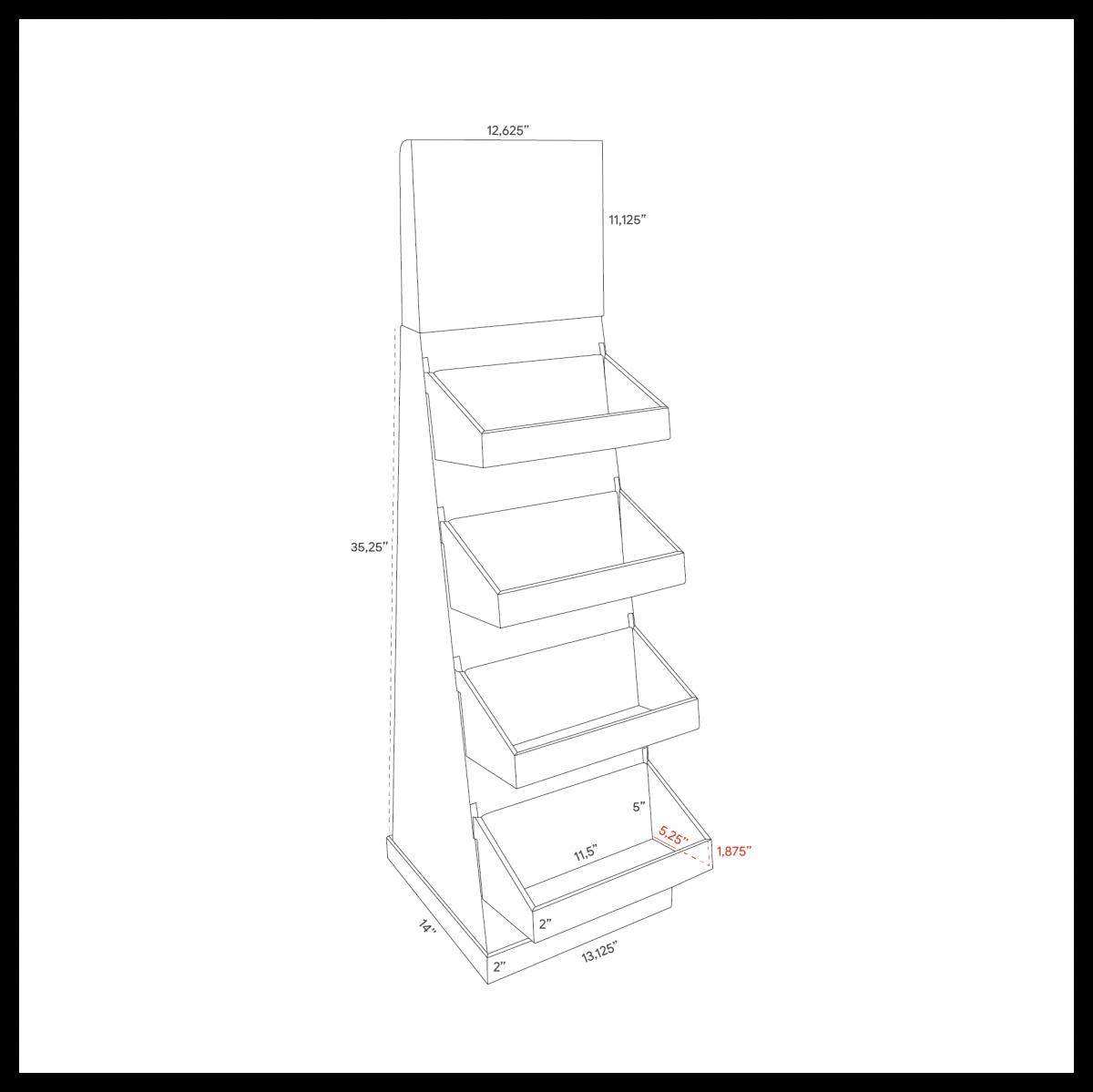 Présentoir de plancher en carton avec en-tête et tablettes, avec butoir au plancher (version grande aussi disponible) - dimensions