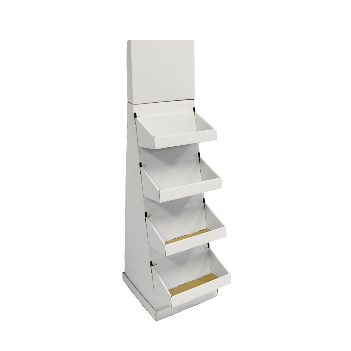 Cardboard floor display with header and 4 trays as shelves (small version) - white