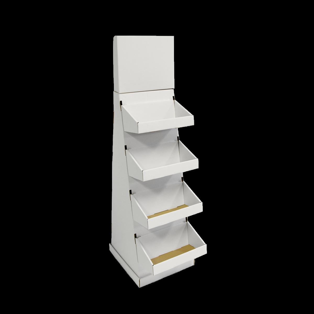 Présentoir de plancher en carton avec en-tête et tablettes, avec butoir au plancher (version grande aussi disponible) - blanc