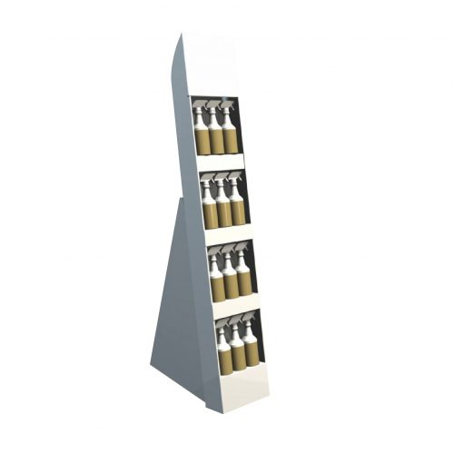 Cardboard floor display with header and shelves - 3d
