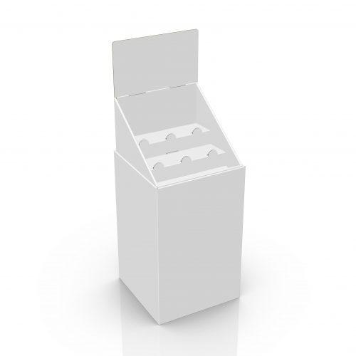 Benne en carton (dumpbin) avec en-tête et présentoir avec 2 tablettes - 3d
