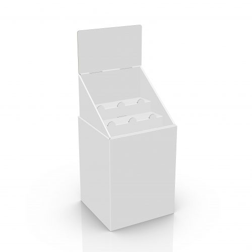 Cardboard display Dump Bin with header and tray with 2 shelves - 3d