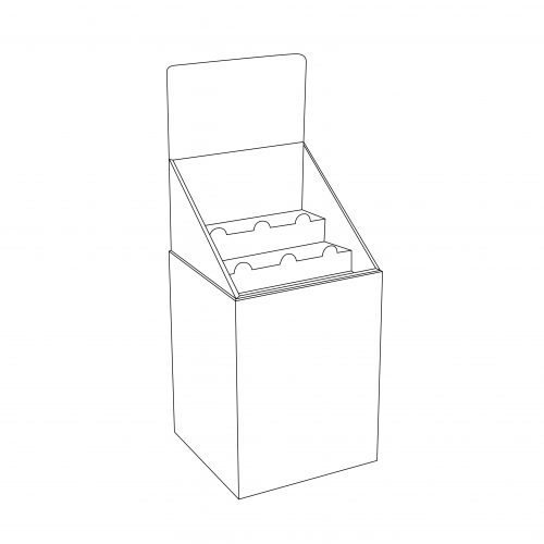 Cardboard display Dump Bin with header and tray with 2 shelves - outline