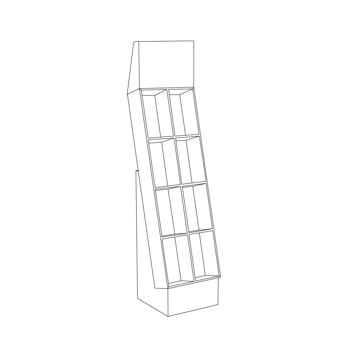 Cardboard floor display with header and 4 shelves and with separator, placed on a small base shelves - outline