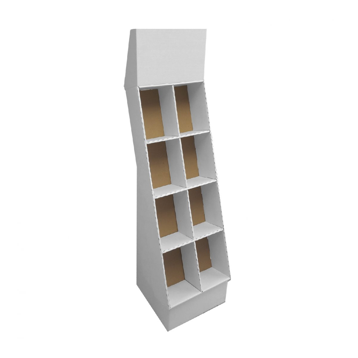 Cardboard floor display with header and 4 shelves, with a separator, placed on a small base - white