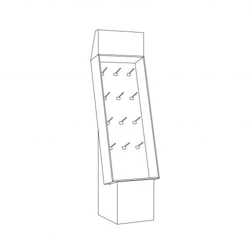 Cardboard floor display - header and pegs - outline