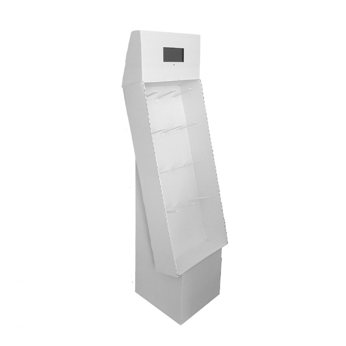 Cardboard floor peg display with header, placed on a base, with a screen in the header - 3d - white